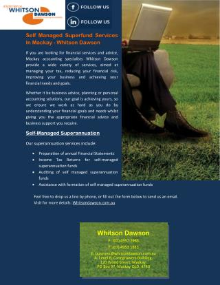 Self Managed Superfund Services In Mackay - Whitson Dawson
