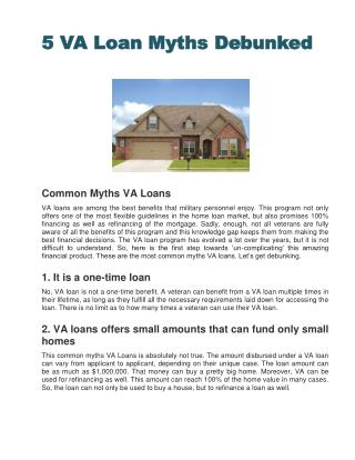 5 VA Loan Myths Debunked