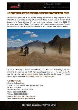Motorcycle Tours in India - Motorcycle Expeditions