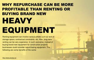Reasons to opt for repurchase instead of purchasing heavy equipment