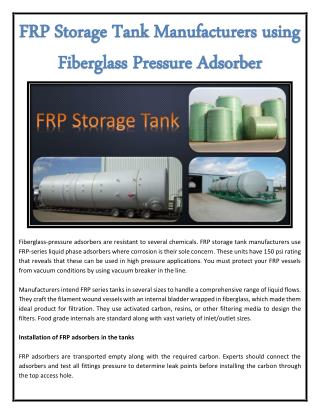 FRP Storage Tank Manufacturers using Fiberglass Pressure Adsorber