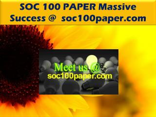 SOC 100 PAPER Massive Success @ soc100paper.com