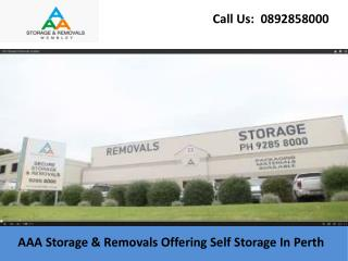 AAA Storage & Removals Offering Self Storage In Perth