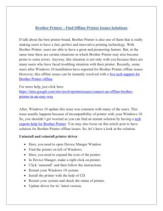 Brother printer – find offline printer issues solutions