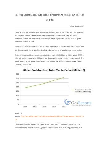 Global Endotracheal Tube Market Projected to Reach $ 310 Million by 2018
