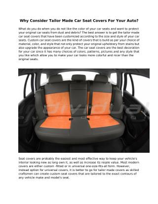 Why Consider Tailor Made Car Seat Covers For Your Auto?