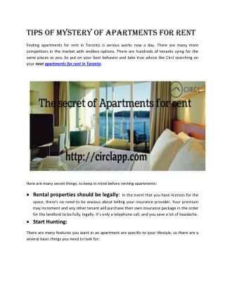 Tips of Mystery of Apartments for Rent