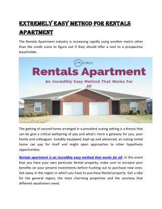 Extremely easy method for Rentals Apartment