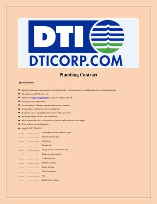 Sample Plumbing Contract