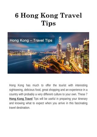 6 Hong Kong Travel Tips