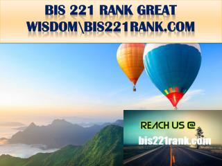 BIS 221 RANK GREAT WISDOM \bis221rank.com