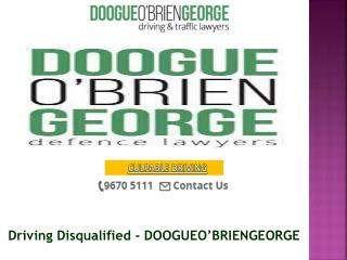 Driving Disqualified - DOOGUEO'BRIENGEORGE