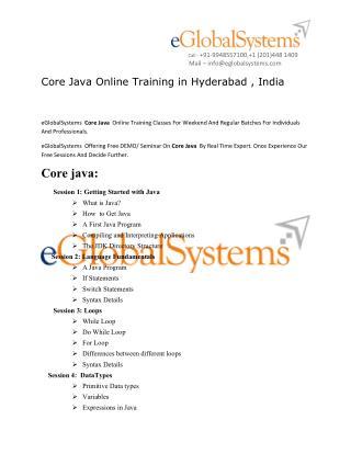 Core Java Online Training | Core Java Training in hyderabad , india , uk