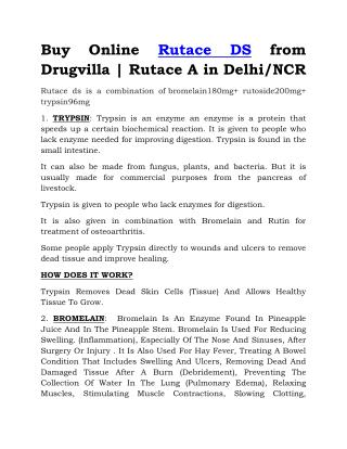 Buy Online Rutace DS from Drugvilla | Rutace A in Delhi/NCR