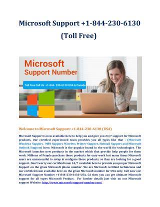 Microsoft support  1-844-230-6130 USA, CA