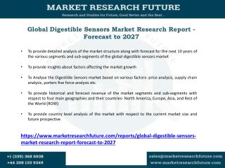Digestible Sensor Market Applications, Key Players, Industry Challenges, Future Trends, Forecast Report to 2027