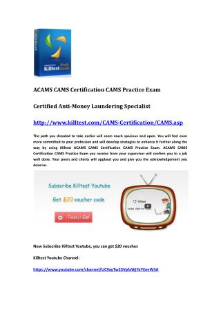 ACAMS Certification CAMS Questions and Answers