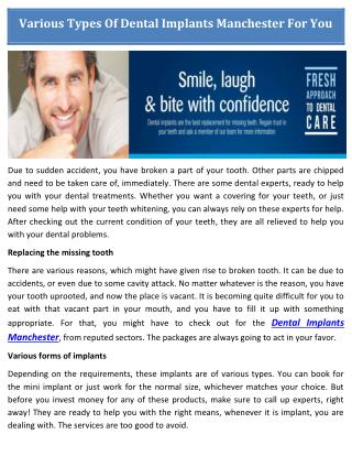 Choose The Best Dental Implants in Manchester by Gentle-Dentists