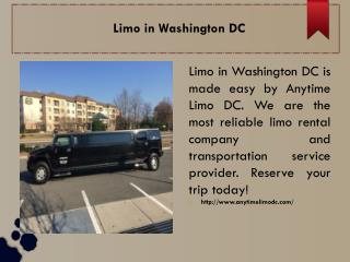 Limo in Washington DC