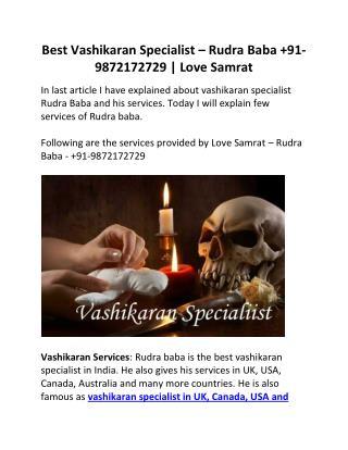 Best Vashikaran Specialist – Rudra Baba  91-9872172729 | Love Samrat