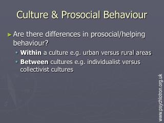 Culture  Prosocial Behaviour