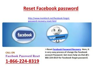 Facebook forgot password Hitches through@1-866-224-8319Recover Facebook password