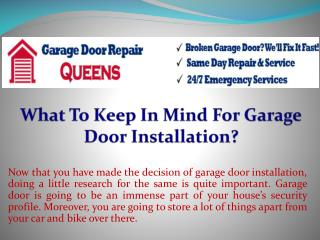 What To Keep In Mind For Garage Door Installation?