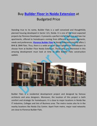 Buy Builder Floor in Noida Extension at Budgeted Price
