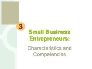Small Business  Entrepreneurs: Characteristics and Competencies