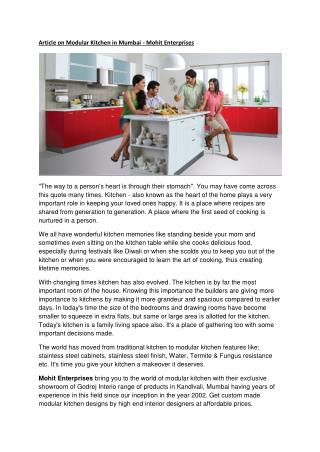 Mohit Enterprises - Modular Kitchen in Mumbai