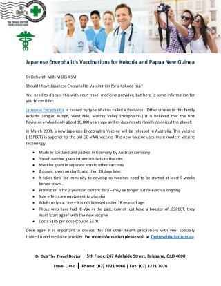 Japanese Encephalitis Vaccinations for Kokoda and Papua New Guinea