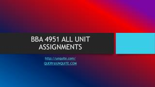 BBA 4951 ALL UNIT ASSIGNMENTS