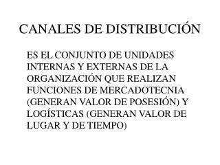 CANALES DE DISTRIBUCI N