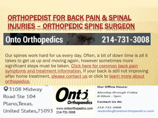 Orthopedist for back pain and spinal injuries
