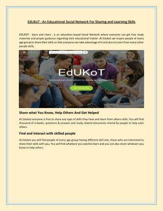 EdUKoT : An Educational Social Network For Sharing and Learning Skills