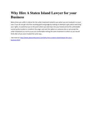 Why Hire A Staten Island Lawyer for your Business