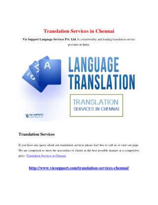 Translation Services in Chennai