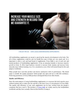 CRAZY BULK – 100% LEGAL BODYBUILDING SUPPLEMENTS