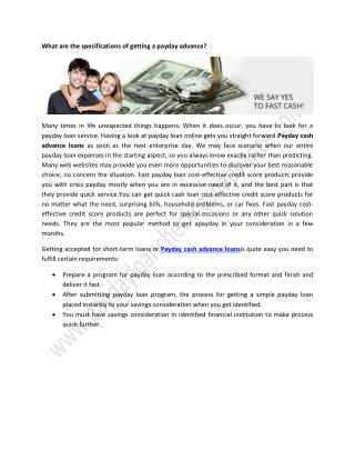 What are the specifications of getting a payday advance