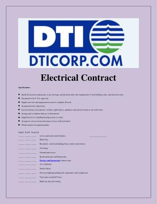 Sample Electrical Contract