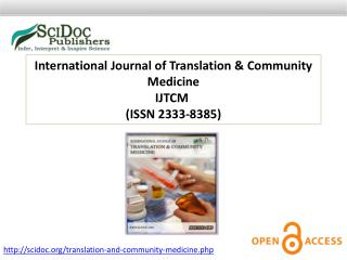 International Journal of Translation & Community Medicine ISSN 2333-8385