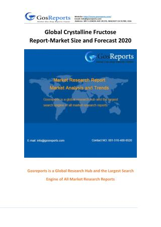 Global Crystalline Fructose Market Research Report 2016