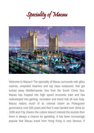 Speciality of Macau