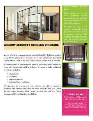 WINDOW SECURITY SCREENS BRISBANE