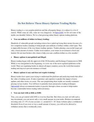 Do Not Believe These Binary Options Trading Myths
