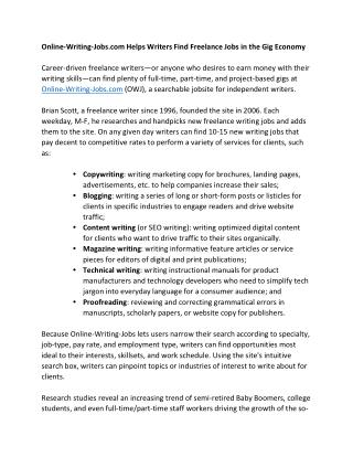 Online-Writing-Jobs.com Helps Writers Find Freelance Jobs in the Gig Economy