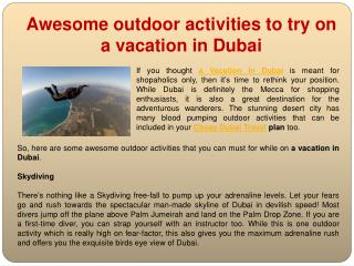 Awesome outdoor activities to try on a vacation in Dubai