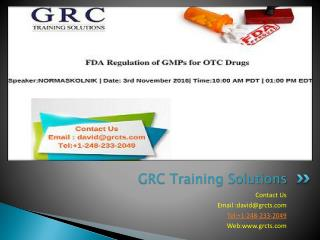Live Webinar On FDA Regulation of GMPs for OTC Drugs