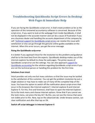 Troubleshooting quickbooks script errors in desktop web pages