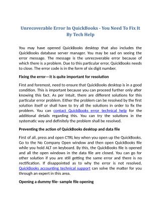 Unrecoverable Error In QuickBooks - You Need To Fix It By Tech Help